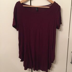 Oversized flowy burgundy top